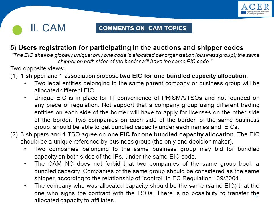 """16 II. CAM 5) Users registration for participating in the auctions and shipper codes """"The EIC shall be globally unique: only one code is allocated per"""