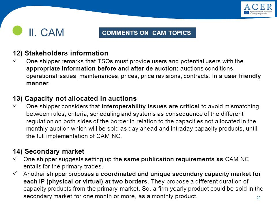 20 II. CAM 12) Stakeholders information One shipper remarks that TSOs must provide users and potential users with the appropriate information before a