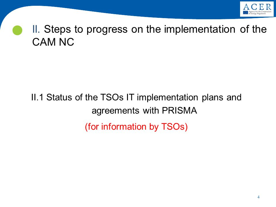 4 II.1 Status of the TSOs IT implementation plans and agreements with PRISMA (for information by TSOs) II. Steps to progress on the implementation of