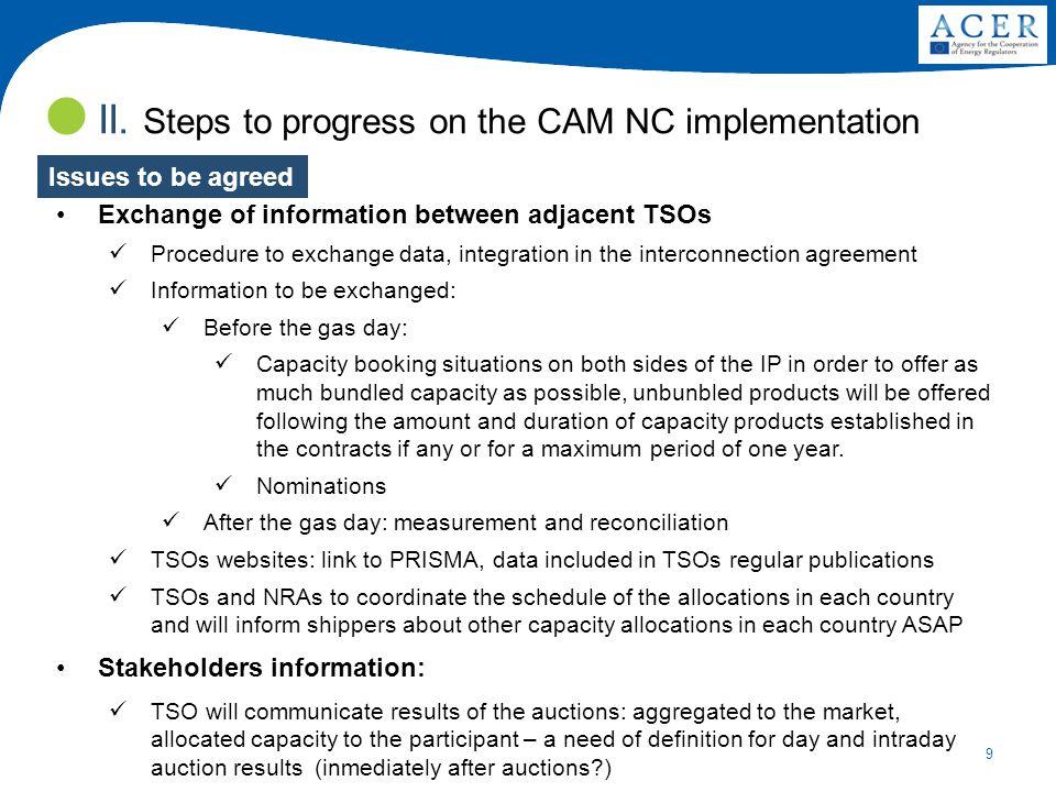 9 Exchange of information between adjacent TSOs Procedure to exchange data, integration in the interconnection agreement Information to be exchanged: