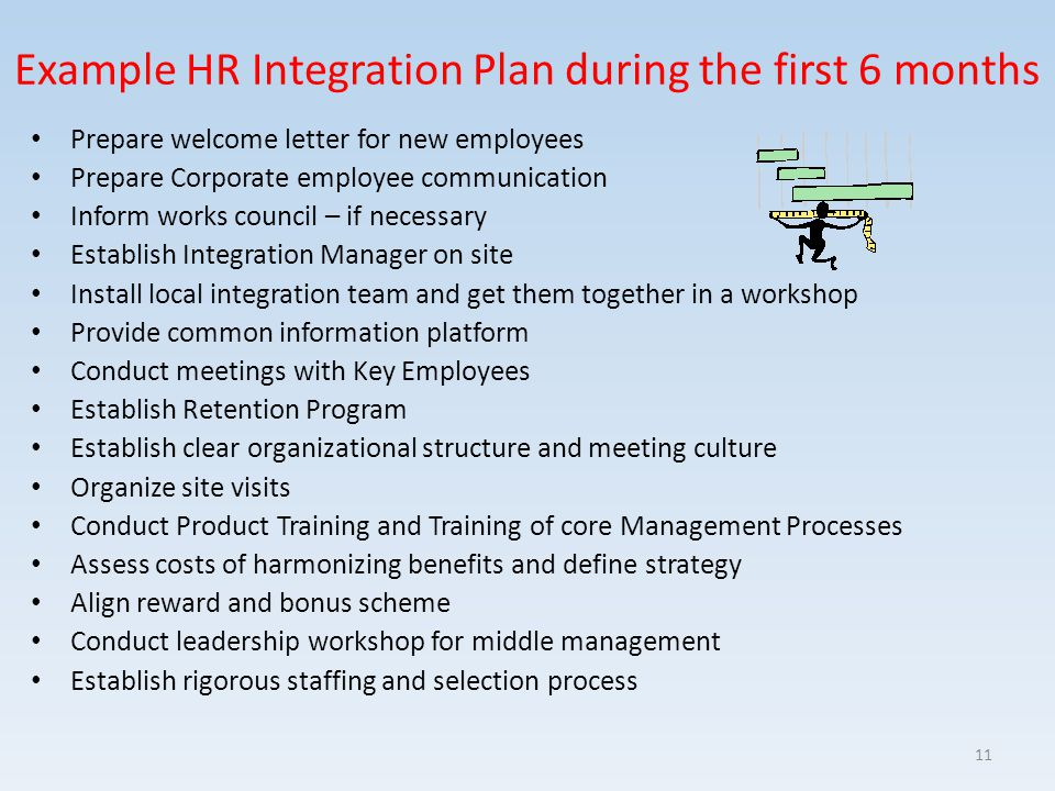 Example HR Integration Plan during the first 6 months Prepare welcome letter for new employees Prepare Corporate employee communication Inform works c
