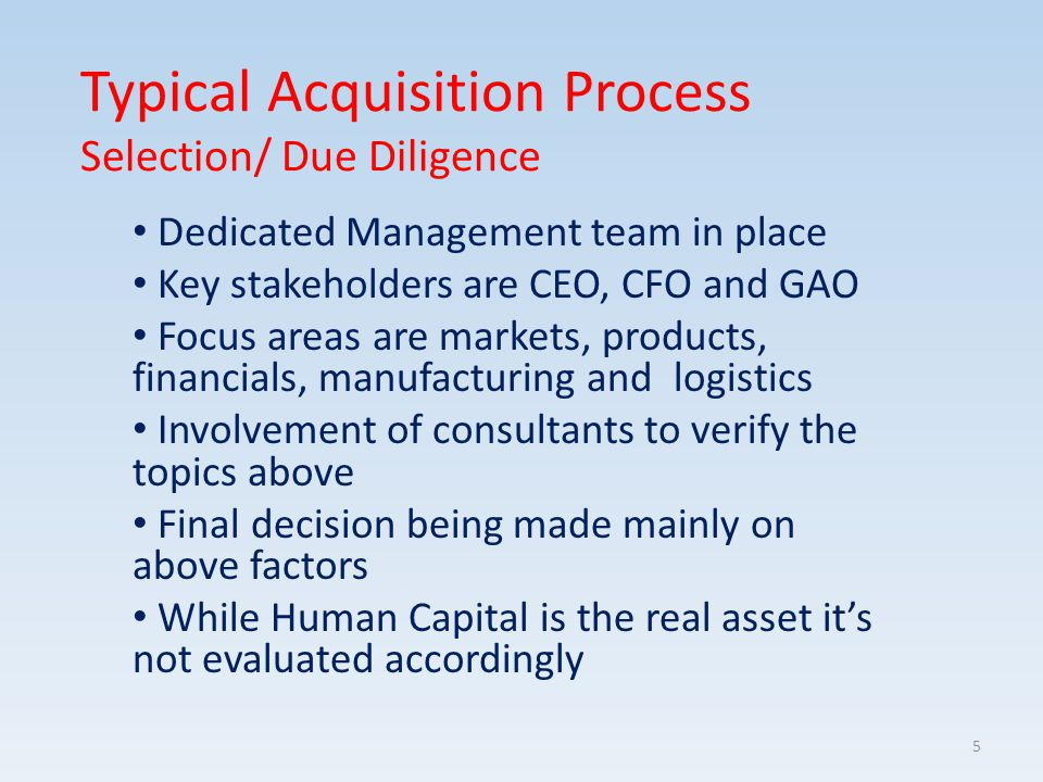 Typical Acquisition Process Selection/ Due Diligence Dedicated Management team in place Key stakeholders are CEO, CFO and GAO Focus areas are markets,