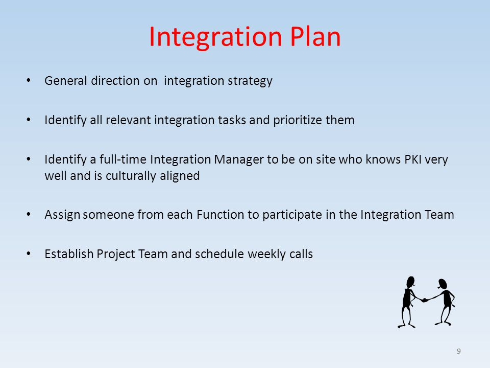 Integration Plan General direction on integration strategy Identify all relevant integration tasks and prioritize them Identify a full-time Integratio