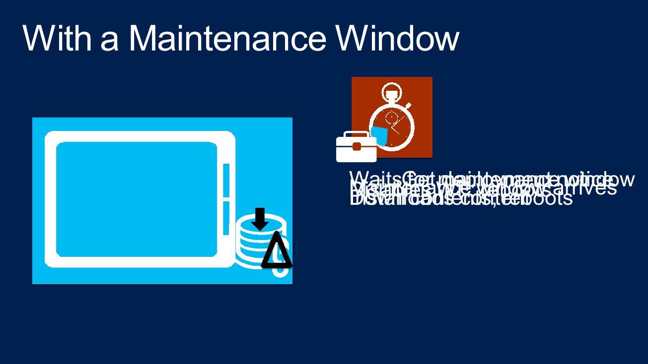 Get deployment noticeWaits for maintenance window Maintenance window arrives Disables WF; reboots Downloads contentInstall contents; reboots