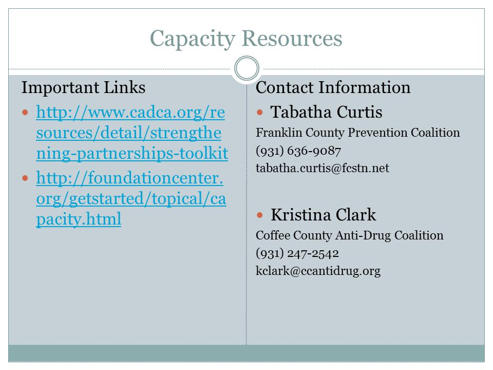 Capacity Resources Important Links http://www.cadca.org/re sources/detail/strengthe ning-partnerships-toolkit http://www.cadca.org/re sources/detail/strengthe ning-partnerships-toolkit http://foundationcenter.
