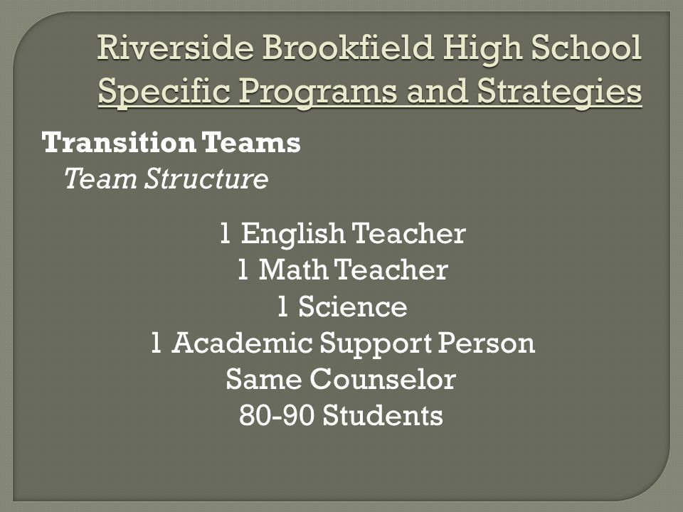 Riverside Brookfield High School Specific Programs and Strategies Transition Teams Team Structure 1 English Teacher 1 Math Teacher 1 Science 1 Academic Support Person Same Counselor 80-90 Students