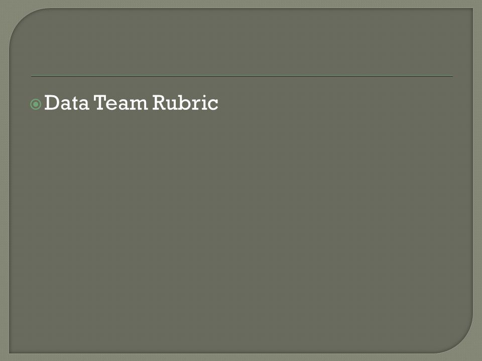  Data Team Rubric