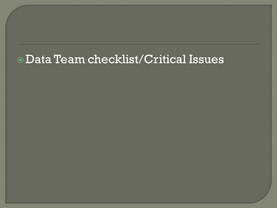  Data Team checklist/Critical Issues