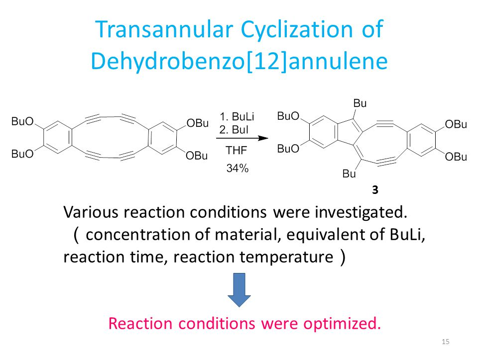 Transannular Cyclization of Dehydrobenzo[12]annulene Various reaction conditions were investigated. ( concentration of material, equivalent of BuLi, r