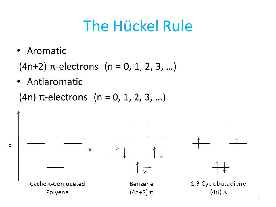 Benzene (4n+2) π The Hückel Rule Aromatic (4n+2) π-electrons (n = 0, 1, 2, 3, …) Antiaromatic (4n) π-electrons (n = 0, 1, 2, 3, …) Cyclic π-Conjugated