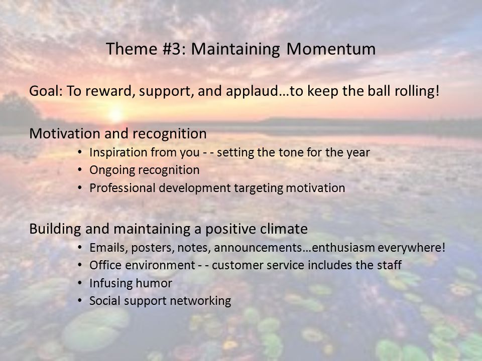 Theme #3: Maintaining Momentum Goal: To reward, support, and applaud…to keep the ball rolling.
