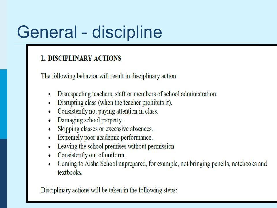 General - discipline