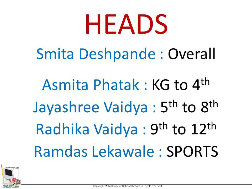 HEADS Smita Deshpande : Overall Asmita Phatak : KG to 4 th Jayashree Vaidya : 5 th to 8 th Radhika Vaidya : 9 th to 12 th Ramdas Lekawale : SPORTS Copyright © Millennium National School.