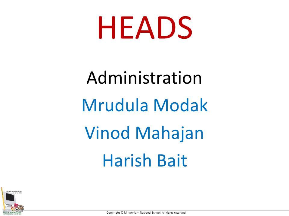 HEADS Administration Mrudula Modak Vinod Mahajan Harish Bait Copyright © Millennium National School.