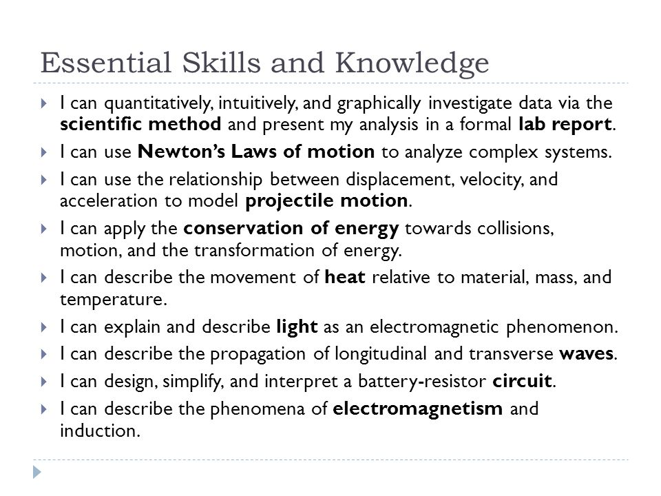 Essential Skills and Knowledge  I can quantitatively, intuitively, and graphically investigate data via the scientific method and present my analysis in a formal lab report.