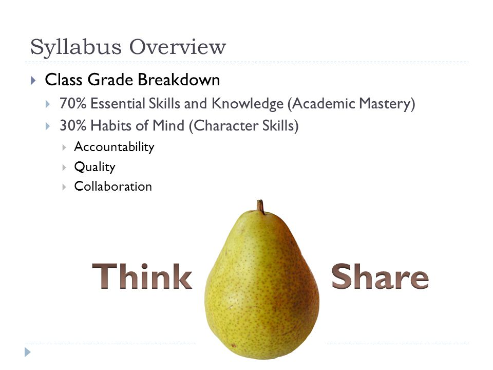 Syllabus Overview  Class Grade Breakdown  70% Essential Skills and Knowledge (Academic Mastery)  30% Habits of Mind (Character Skills)  Accountability  Quality  Collaboration