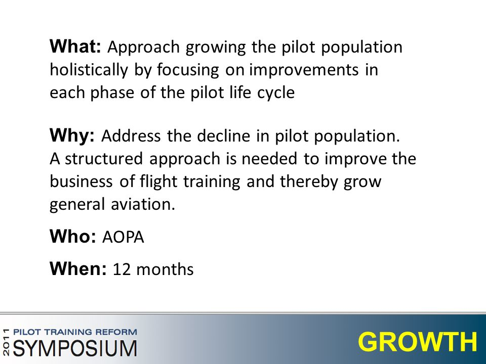 11 GROWTH What: Approach growing the pilot population holistically by focusing on improvements in each phase of the pilot life cycle Who: AOPA When: 12 months Why: Address the decline in pilot population.