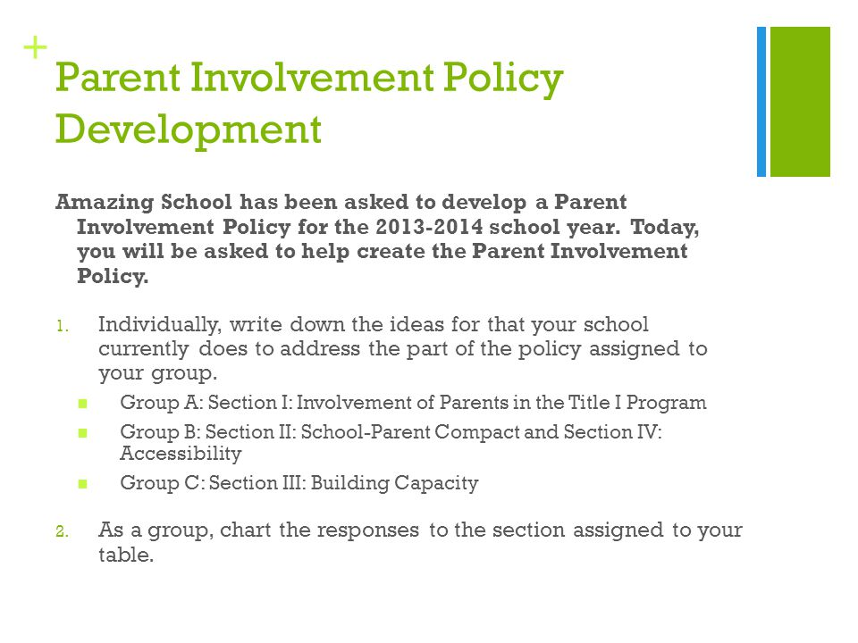 + Parent Involvement Policy Development Amazing School has been asked to develop a Parent Involvement Policy for the 2013-2014 school year. Today, you