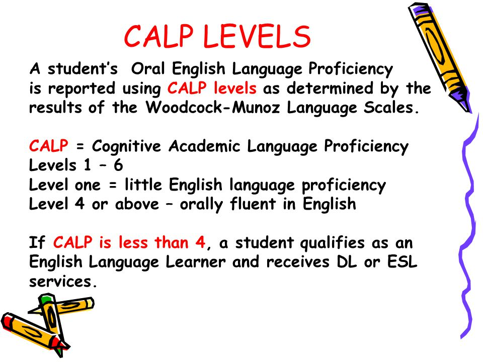 CALP LEVELS A student's Oral English Language Proficiency is reported using CALP levels as determined by the results of the Woodcock-Munoz Language Scales.