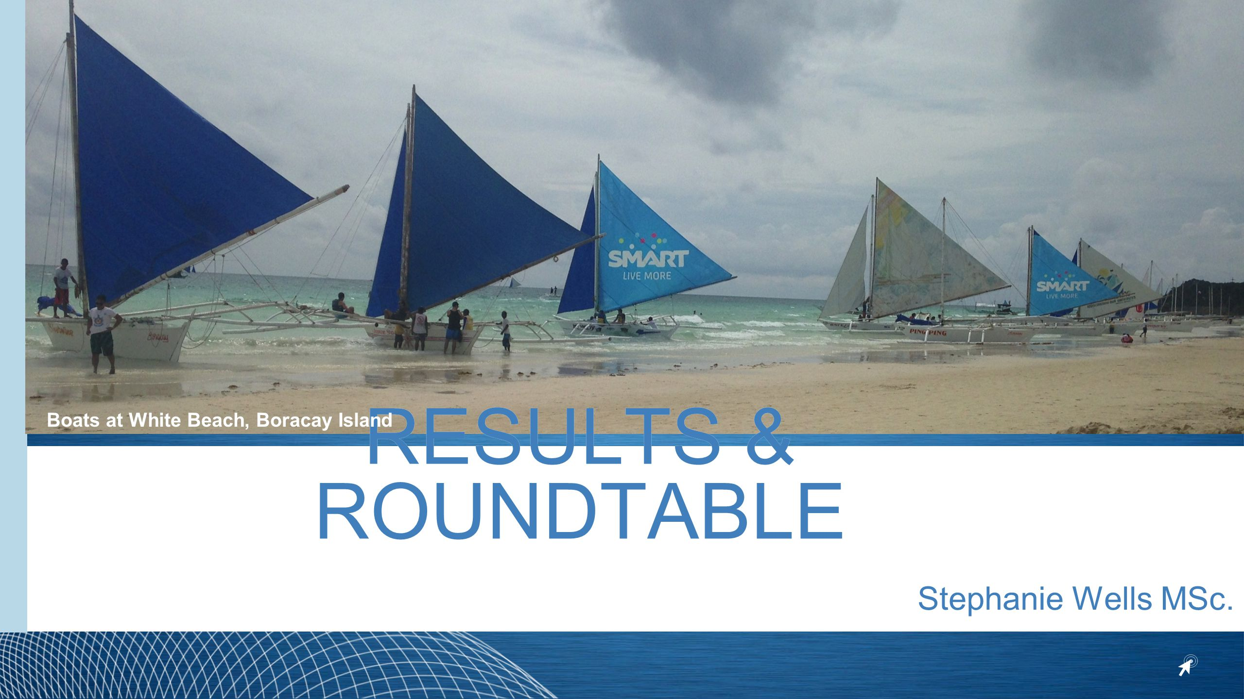 RESULTS & ROUNDTABLE Stephanie Wells MSc. Boats at White Beach, Boracay Island