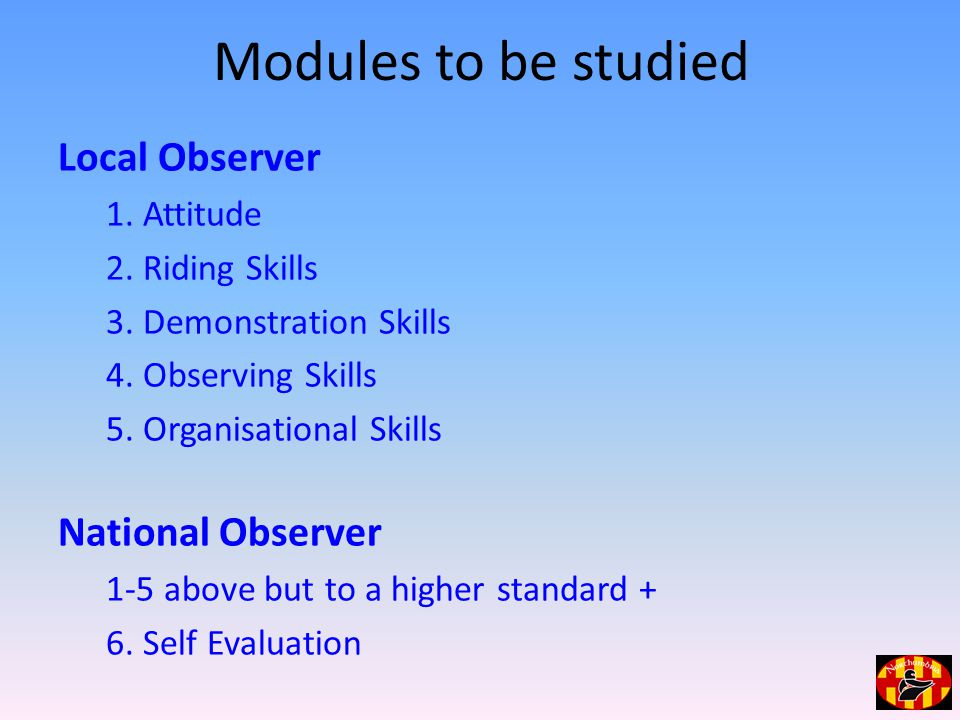 Modules to be studied Local Observer 1. Attitude 2.
