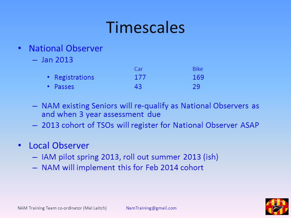 Timescales National Observer – Jan 2013 CarBike Registrations 177 169 Passes4329 – NAM existing Seniors will re-qualify as National Observers as and when 3 year assessment due – 2013 cohort of TSOs will register for National Observer ASAP Local Observer – IAM pilot spring 2013, roll out summer 2013 (ish) – NAM will implement this for Feb 2014 cohort NAM Training Team co-ordinator (Mel Leitch) NamTraining@gmail.com
