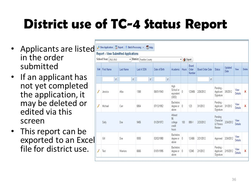 District use of TC-4 Status Report Applicants are listed in the order submitted If an applicant has not yet completed the application, it may be deleted or edited via this screen This report can be exported to an Excel file for district use.