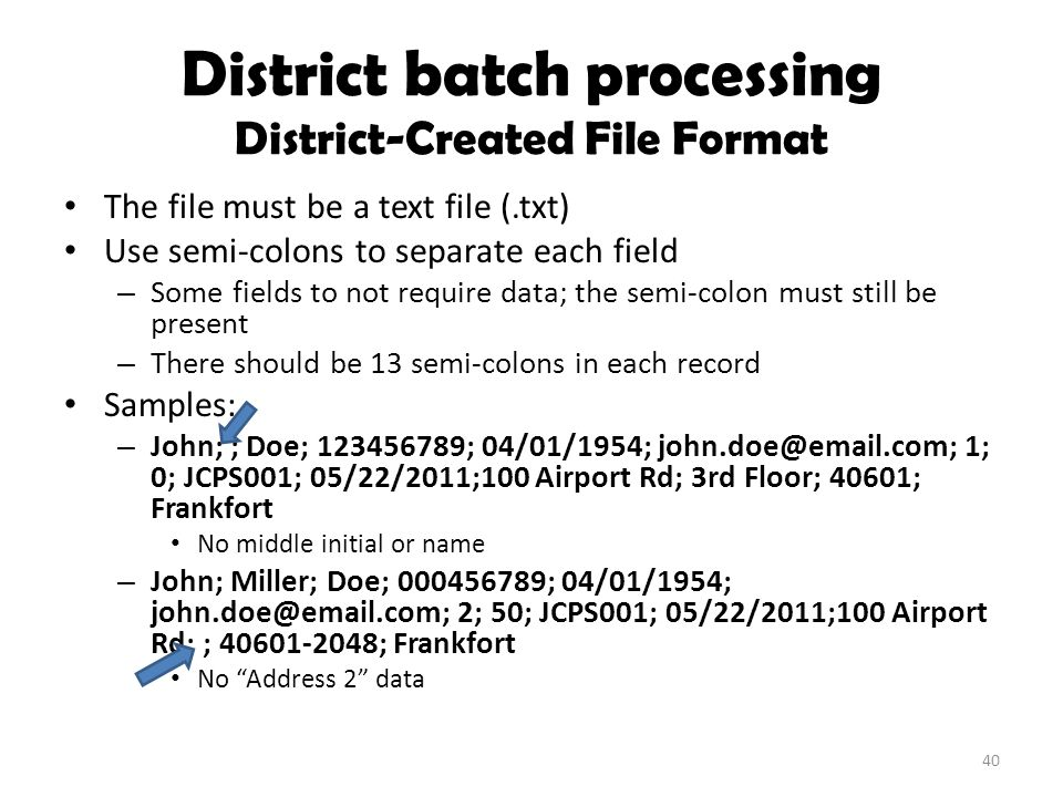 District batch processing District-Created File Format The file must be a text file (.txt) Use semi-colons to separate each field – Some fields to not