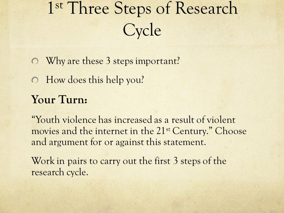 1 st Three Steps of Research Cycle Why are these 3 steps important.