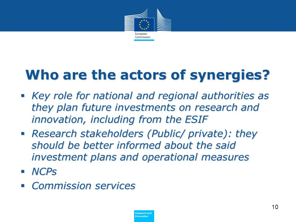 Policy Research and Innovation Research and Innovation Who are the actors of synergies.