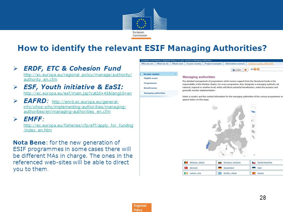 Regional Policy How to identify the relevant ESIF Managing Authorities.