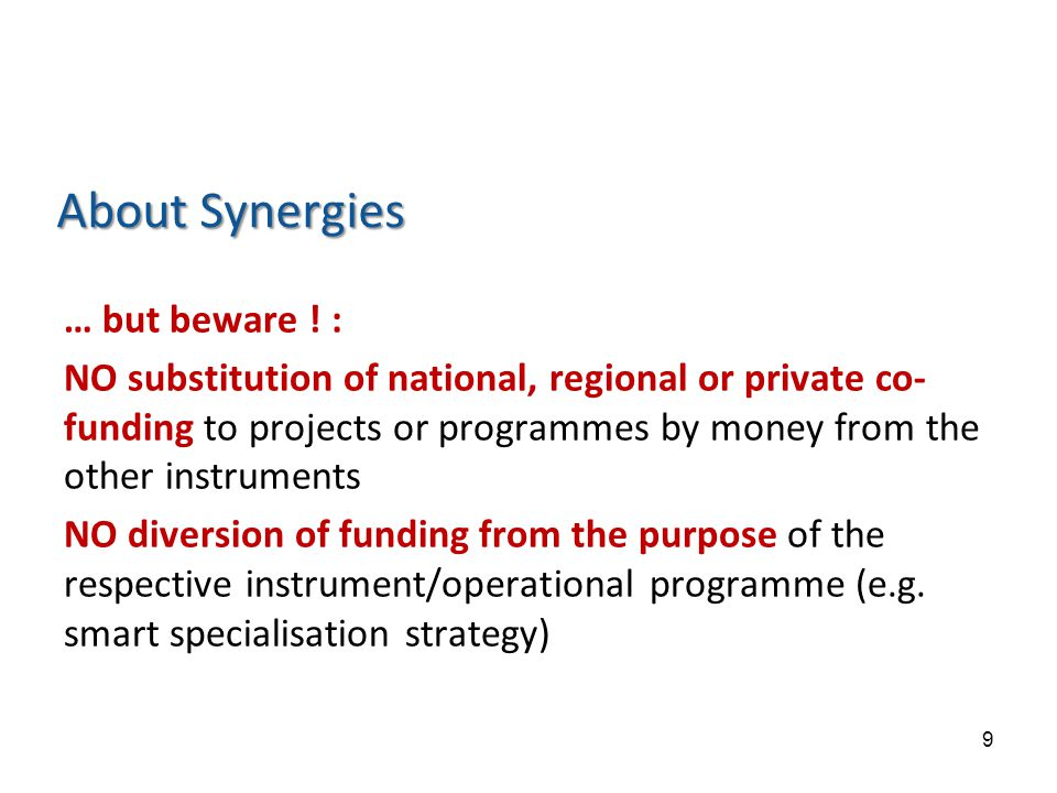 About Synergies … but beware .