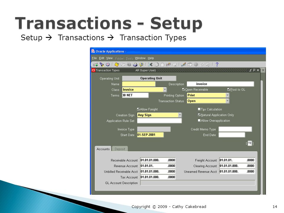 Setup  Transactions  Transaction Types Copyright © 2009 - Cathy Cakebread14