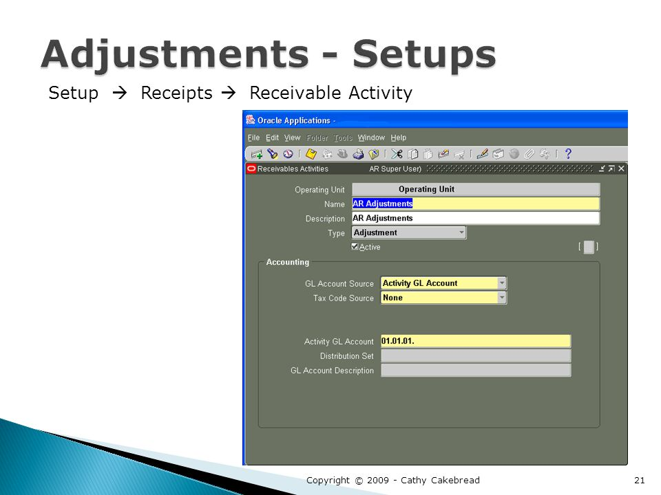 Setup  Receipts  Receivable Activity Copyright © 2009 - Cathy Cakebread21