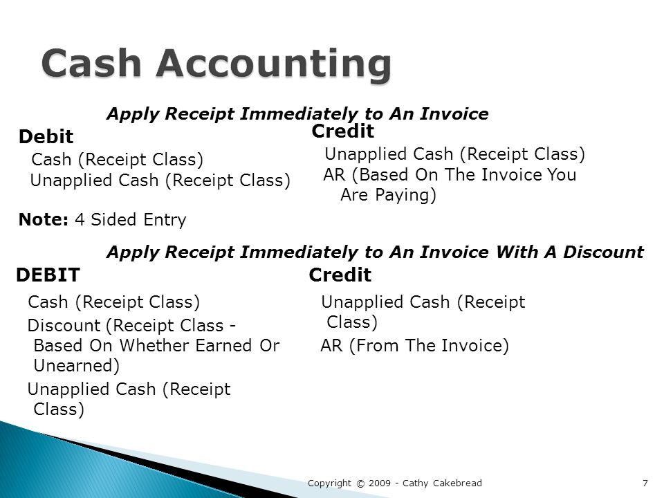 Debit Cash (Receipt Class) Unapplied Cash (Receipt Class) Note: 4 Sided Entry Credit Unapplied Cash (Receipt Class) AR (Based On The Invoice You Are Paying) DEBIT Cash (Receipt Class) Discount (Receipt Class - Based On Whether Earned Or Unearned) Unapplied Cash (Receipt Class) Credit Unapplied Cash (Receipt Class) AR (From The Invoice) Apply Receipt Immediately to An Invoice Apply Receipt Immediately to An Invoice With A Discount Copyright © 2009 - Cathy Cakebread7