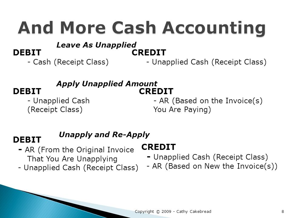 DEBIT - Cash (Receipt Class) CREDIT - Unapplied Cash (Receipt Class) DEBIT - Unapplied Cash (Receipt Class) CREDIT - AR (Based on the Invoice(s) You Are Paying) DEBIT - AR (From the Original Invoice That You Are Unapplying - Unapplied Cash (Receipt Class) CREDIT - Unapplied Cash (Receipt Class) - AR (Based on New the Invoice(s)) Leave As Unapplied Apply Unapplied Amount Unapply and Re-Apply Copyright © 2009 - Cathy Cakebread8