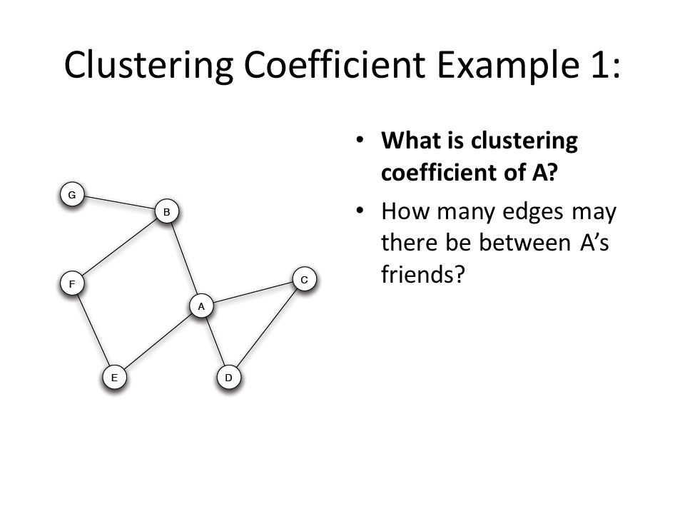 Clustering Coefficient Example 1: What is clustering coefficient of A? How many edges may there be between A's friends?