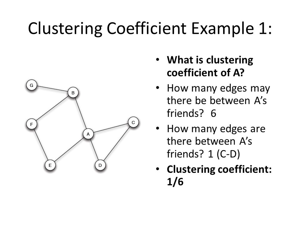 Clustering Coefficient Example 1: What is clustering coefficient of A? How many edges may there be between A's friends? 6 How many edges are there bet
