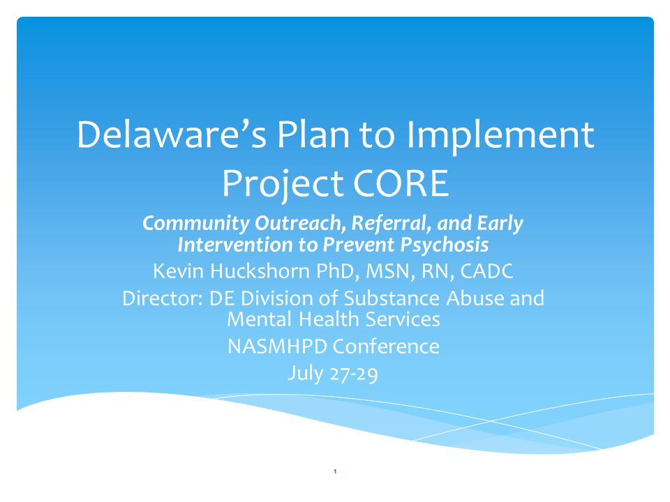 Delaware's Plan to Implement Project CORE Community Outreach, Referral, and Early Intervention to Prevent Psychosis Kevin Huckshorn PhD, MSN, RN, CADC