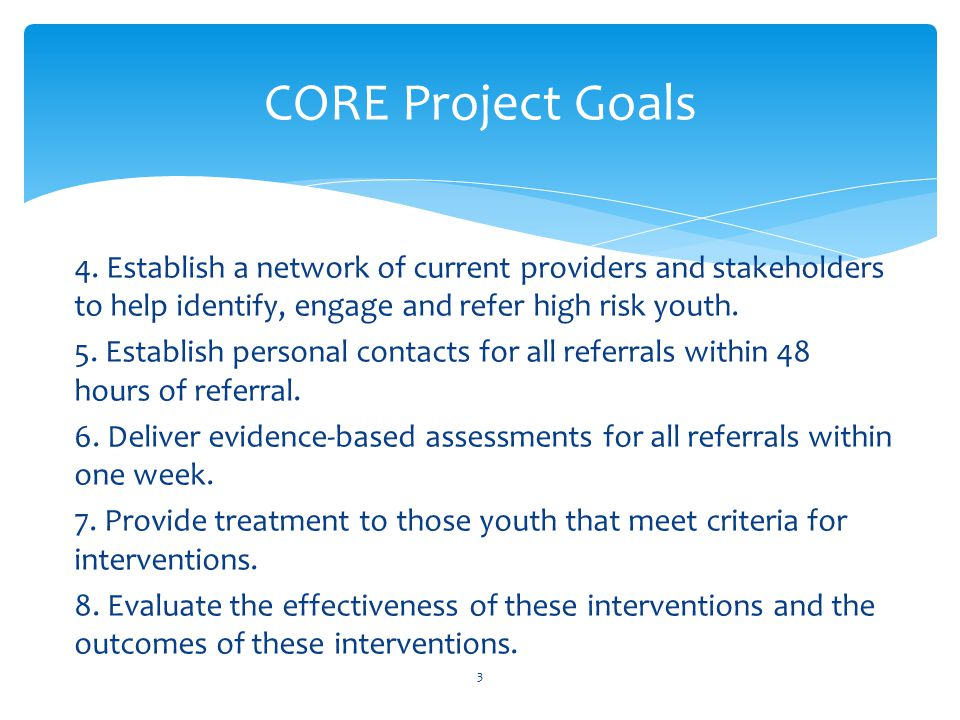 4. Establish a network of current providers and stakeholders to help identify, engage and refer high risk youth. 5. Establish personal contacts for al