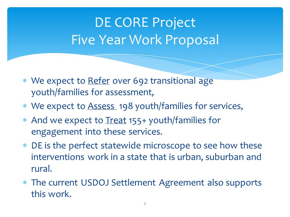 We expect to Refer over 692 transitional age youth/families for assessment,  We expect to Assess 198 youth/families for services,  And we expect t