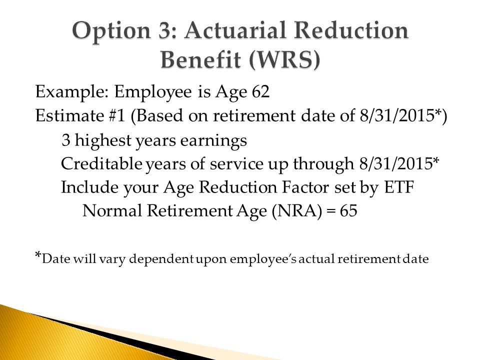 Example: Employee is Age 62 Estimate #1 (Based on retirement date of 8/31/2015*) 3 highest years earnings Creditable years of service up through 8/31/