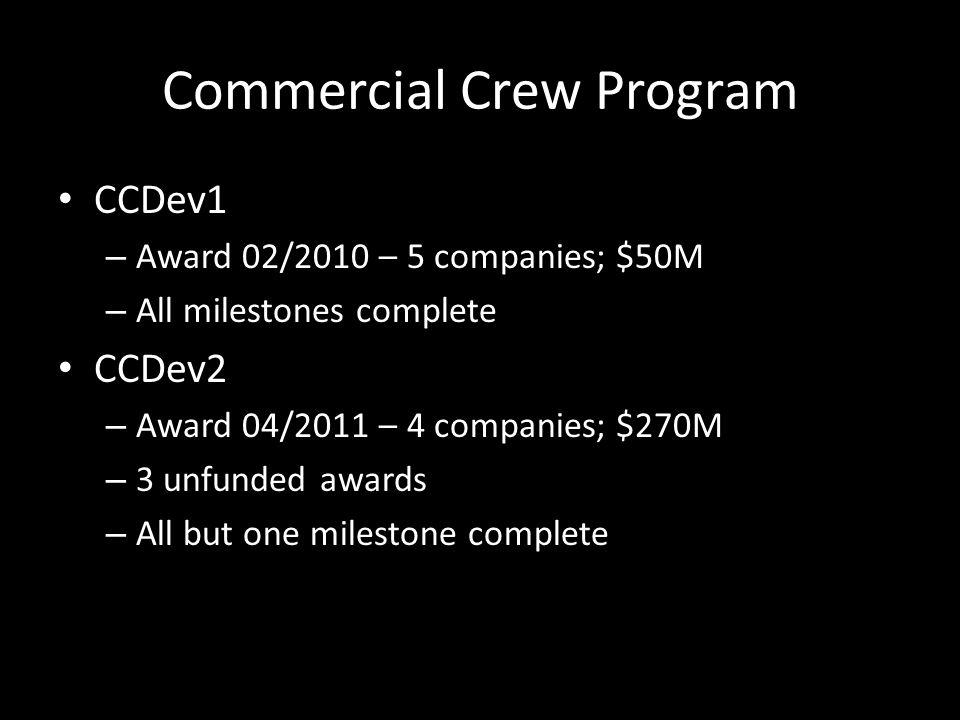Commercial Crew Program CCDev1 – Award 02/2010 – 5 companies; $50M – All milestones complete CCDev2 – Award 04/2011 – 4 companies; $270M – 3 unfunded awards – All but one milestone complete