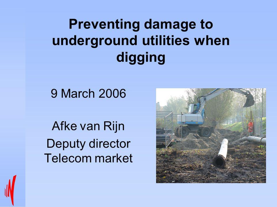 Preventing damage to underground utilities when digging 9 March 2006 Afke van Rijn Deputy director Telecom market