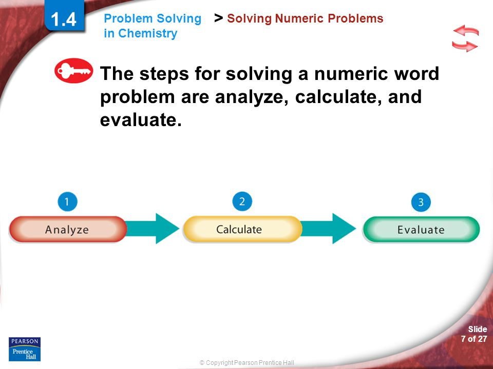 Slide 7 of 27 © Copyright Pearson Prentice Hall > Problem Solving in Chemistry Solving Numeric Problems The steps for solving a numeric word problem a