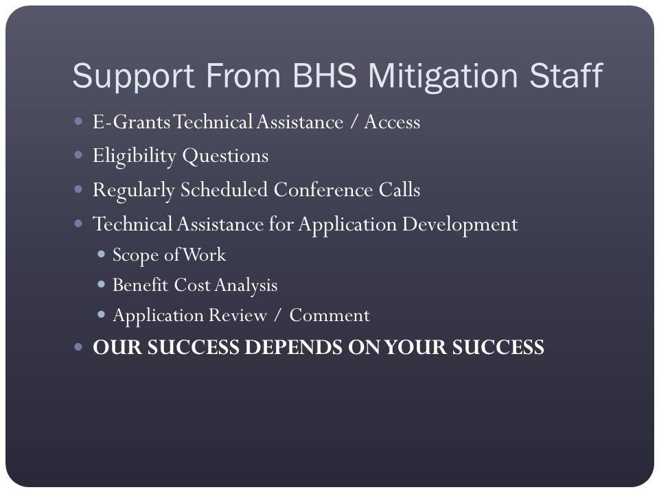 Support From BHS Mitigation Staff E-Grants Technical Assistance / Access Eligibility Questions Regularly Scheduled Conference Calls Technical Assistan