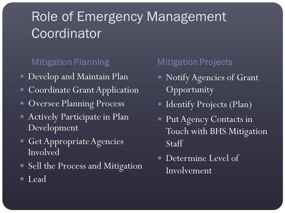 Role of Emergency Management Coordinator Mitigation PlanningMitigation Projects Develop and Maintain Plan Coordinate Grant Application Oversee Plannin