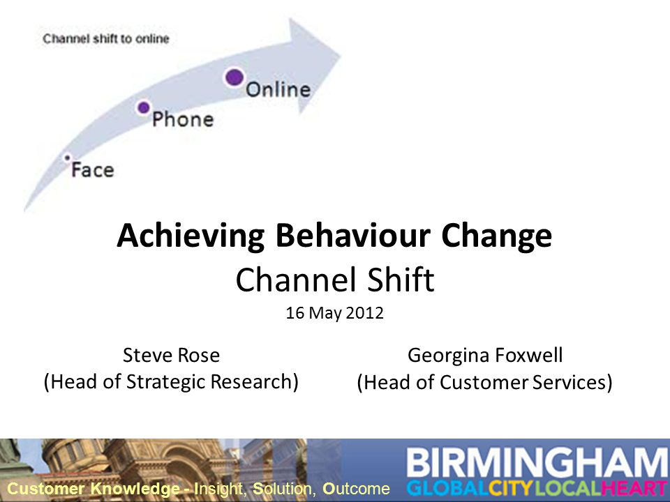 Achieving Behaviour Change Channel Shift 16 May 2012 Steve Rose (Head of Strategic Research) Customer Knowledge - Insight, Solution, Outcome Georgina Foxwell (Head of Customer Services)