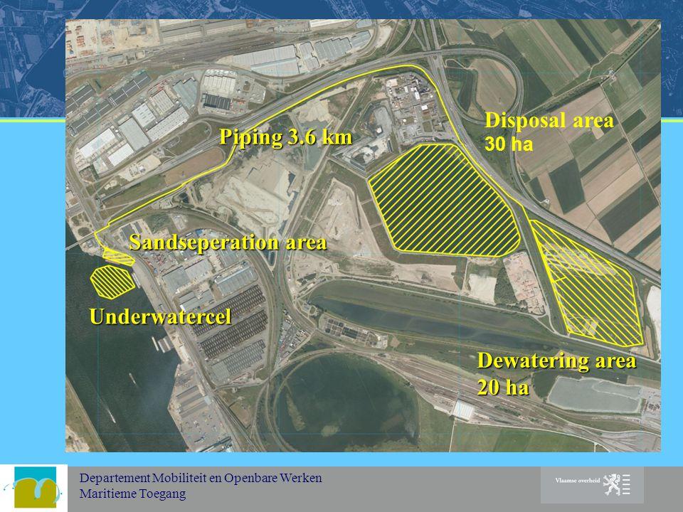 Departement Mobiliteit en Openbare Werken Maritieme Toegang Dewatering area 20 ha Disposal area 30 ha Sandseperation area Piping 3.6 km Underwatercel