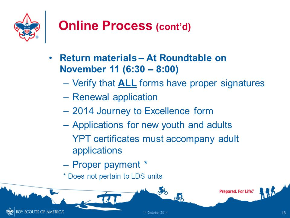 Online Process (cont'd) Return materials – At Roundtable on November 11 (6:30 – 8:00) –Verify that ALL forms have proper signatures –Renewal applicati